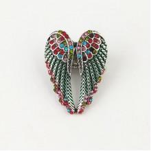 1E0035-1 Безразмерное кольцо Крылья ангела со стразами, цвет бирюзовый