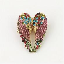 1E0035-2 Безразмерное кольцо Крылья ангела со стразами, цвет розовый