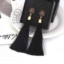 1G0064-1 Серьги с кисточками, цвет чёрный, 115х15х15мм