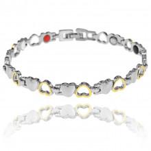 1A0047-1 Магнитный браслет Сердце, цвет золото и серебро