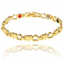 1A0047-2 Магнитный браслет Сердце, цвет золото