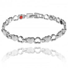 1A0047-4 Магнитный браслет Сердце, цвет серебряный