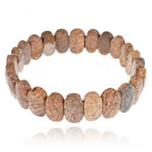 1A0090-12 Браслет из натурального камня Коричневая яшма, 14мм