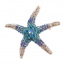 1B0001-1 Брошь Морская Звезда со стразами