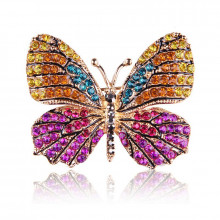 1B0001-2 Брошь Бабочка со стразами