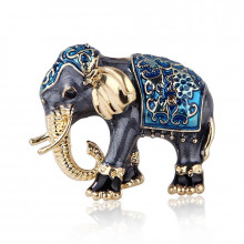 1B0003-1 Брошь Слон, цвет синий