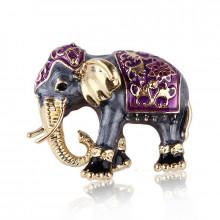 1B0003-2 Брошь Слон, цвет фиолетовый,