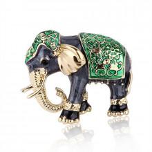1B0003-3 Брошь Слон, цвет зелёный,