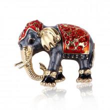 1B0003-4 Брошь Слон, цвет красный,
