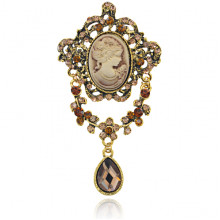 1B0013 Брошь Камея с кристаллом, цвет золотой