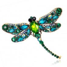 1B0023 Брошь Стрекоза, цвет сине-зелёный
