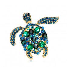 1B0026 Брошь Черепаха, цвет сине-зелёный