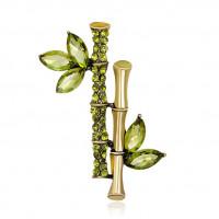 1B0028-1 Брошь Бамбук, цвет зелёный