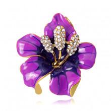 1B0041-2 Брошь Цветок, цвет фиолетовый