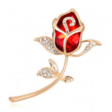 1B0044-1 Брошь Роза со стразами, цвет золото