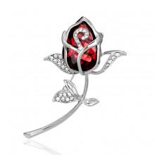 1B0044-2 Брошь Роза со стразами, цвет серебро