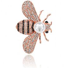 1B0086 Брошь Пчела с жемчужиной и стразами, 30х45мм