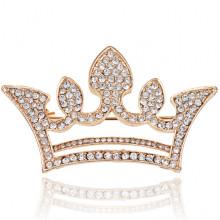 1B0096-2 Брошь Корона со стразами, 30х50мм