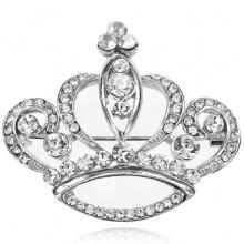 1B0096-5 Брошь Корона со стразами, 35х40мм, цвет серебряный