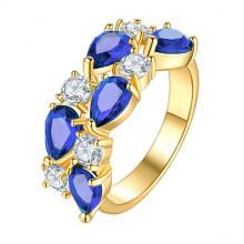 1E0001-2-18 Кольцо с позолотой, цвет синий, размер 18