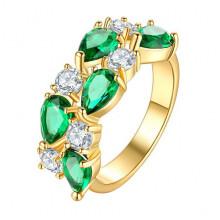 1E0001-3-16 Кольцо с позолотой, цвет зелёный, размер 15