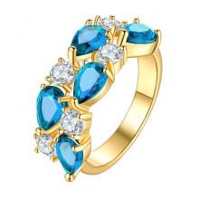 1E0001-4-17 Кольцо с позолотой, цвет голубой, размер 17