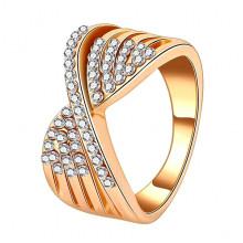 1E0008-1-18 Кольцо со стразами, размер 18