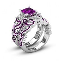 1E0014-2-19 Парные кольца с посеребрением, размер 19