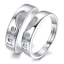 1E0017-1 Парные кольца Любовь со стразами