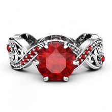 1E0033-1-19 Кольцо Кристалл с красными стразами, размер 19
