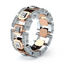 1E0044-1-19 Кольцо с посеребрением и позолотой, размер 19