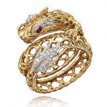 1E0053-1-18 Кольцо Дракон с позолотой, размер 18