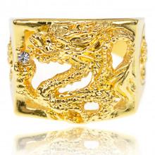 1E0064-1-20 Кольцо Дракон с позолотой, размер 20