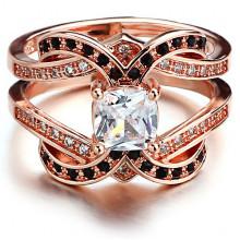 1E0065-1-18 Парные кольца с позолотой, размер 18