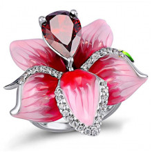 1E0072-1-18 Кольцо Цветок с посеребрением, размер 18