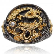 1E0073-1-21 Кольцо Дракон с покрытем чёрный металл и позолотой, размер 21