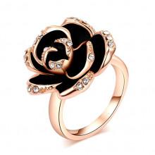 1E0085-17 Кольцо Цветок с позолотой, размер 17