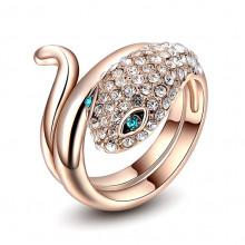 1E0086-17 Кольцо Змея с позолотой, размер 17