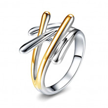 1E0087-16 Кольцо с золотым и серебряным покрытием, размер 16