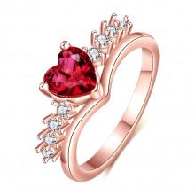 1E0090-17 Кольцо Сердце с позолотой, размер 17