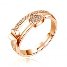 1E0097 Кольцо Сердечки с позолотой, безразмерное