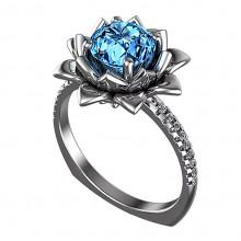1E0101-16 Кольцо с голубым кристаллом, размер 16
