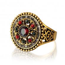 1E0109-17 Кольцо со стразами, размер 17