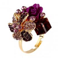 1E0111 Кольцо Цветок, цвет фиолетовый