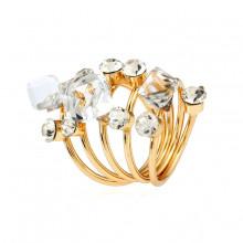 1E0113-1 Кольцо Спираль с кристаллами, цвет белый