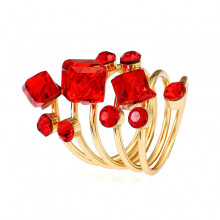 1E0113-2 Кольцо Спираль с кристаллами, цвет красный