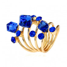 1E0113-3 Кольцо Спираль с кристаллами, цвет синий