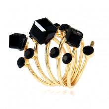 1E0113-4 Кольцо Спираль с кристаллами, цвет чёрный