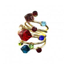 1E0113-5 Кольцо Спираль с разноцветными кристаллами