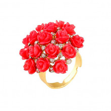 1E0116 Кольцо Красные розы безразмерное